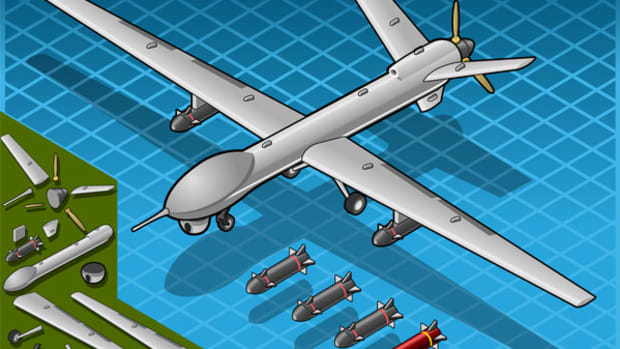 Isometric white drone airplane with bombs