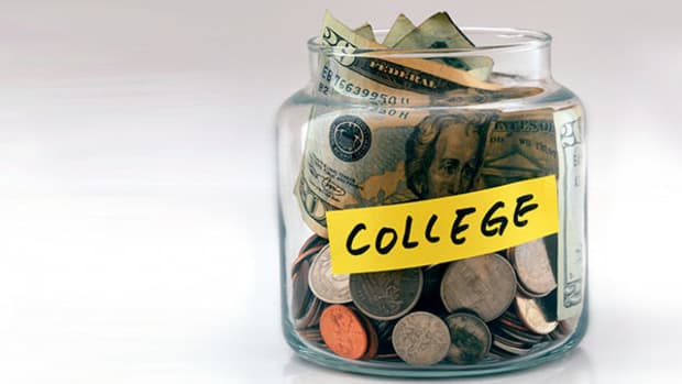 College fund, student loan debt, money in a jar