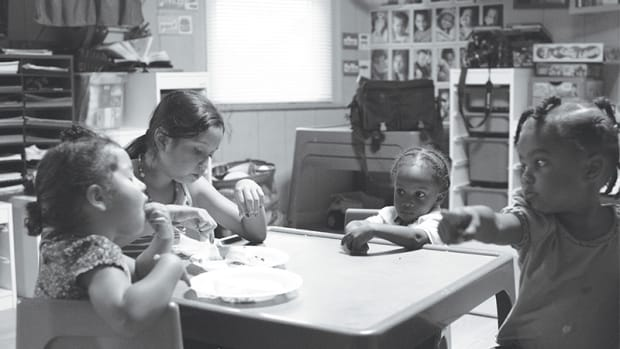 Diana and Ivette eat dinner with Kaden and Naima. Forty percent of American adults now work non-standard hours; the average American employee holds down one and a quarter jobs.