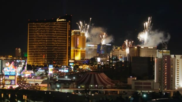 Fireworks and celebrations in Las Vegas for resolutions most likely to be forgotten.