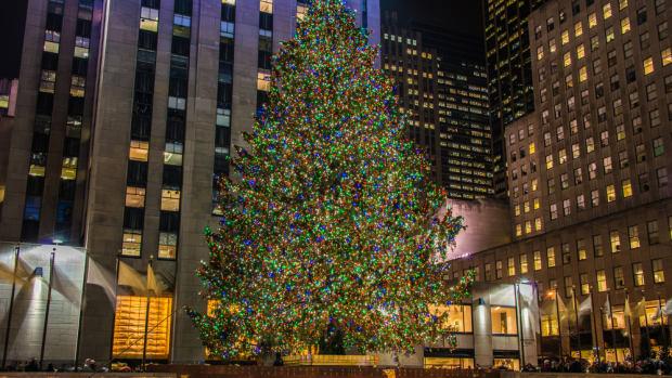 The Christmas tree at Rockefeller Center in New York City.