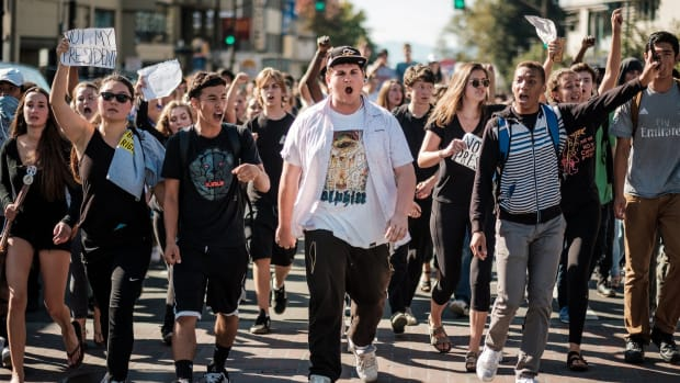 Berkeley High students protest Donald Trump's victory on November 9th, 2016.