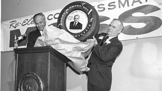 Michigan Congressman John D. Dingell (right) campaigns for John Moss (left).