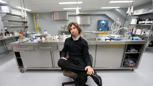 Matt Bowden poses in his pharmaceutical laboratory in Auckland, New Zealand.