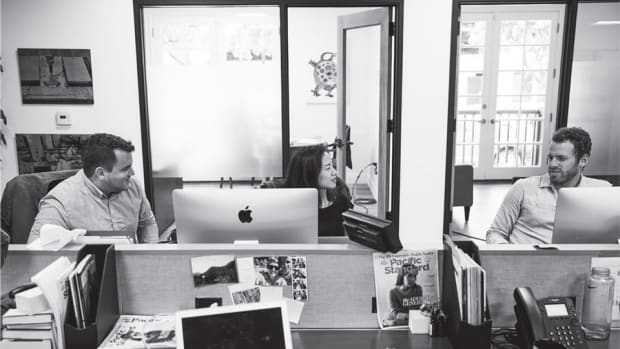 From left, Pacific Standard editor-in-chief Nicholas Jackson, staff writer Francie Diep, and associate editor Max Ufberg in the magazine's new office.