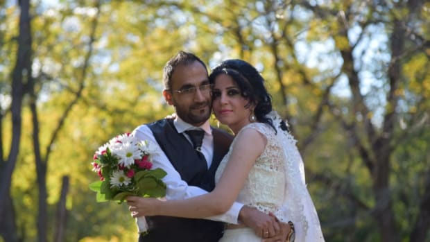 Photo of Zubair Rushk and Etan Shukri in their wedding clothes