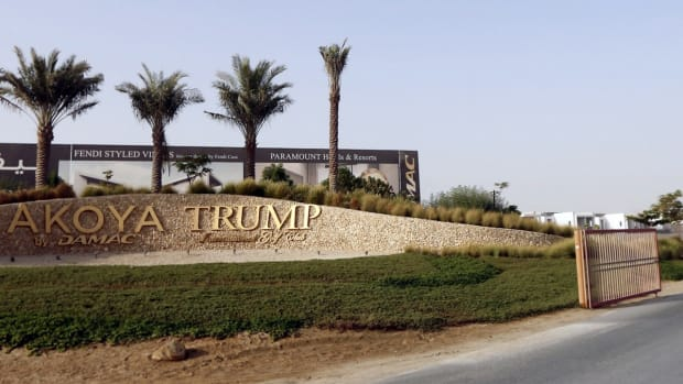 A photograph depicting the gated entrance to the AKOYA by DAMAC master luxury community where the fairways of Donald Trump International Golf Club Dubai are located in the United Arab Emirates, taken on August 12th, 2015.