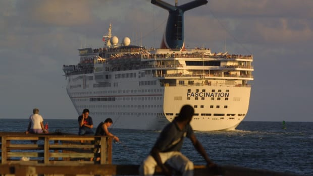 A Carnival cruise ship sets sail in Miami, Florida.