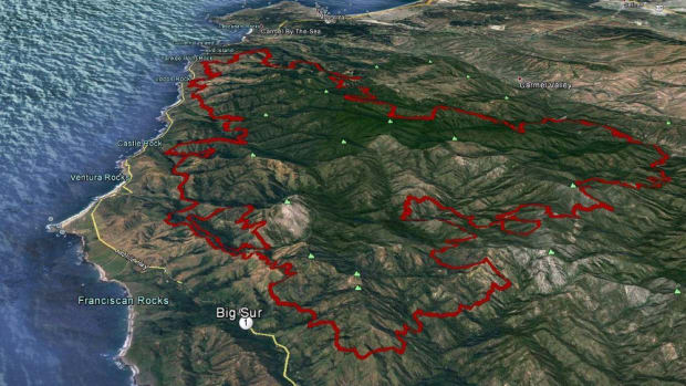 Illustration showing the California coast and the extent of the 2016 Soberanes fire