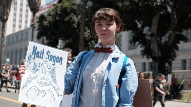 Scientists and supporters participate in a March for Science in front of City Hall on April 22nd, 2017, in Los Angeles, California.
