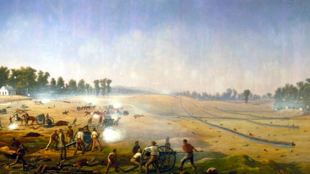 The Battle of Antietam, the Civil War's deadliest one-day fight, as depicted by Captain James Hope.