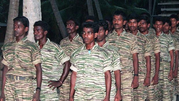 Tamil Tiger guerrillas in training camp.