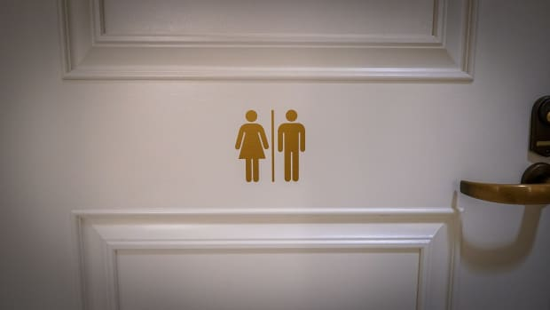 All-gender restroom at the Federal Reserve Bank in San Francisco, California.