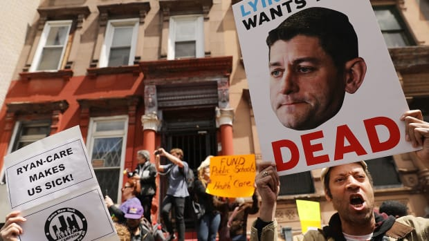 Dozens of health-care activists protest in front of a Harlem charter school before the expected visit of House Speaker Paul Ryan on May 9th, 2017, in New York City.