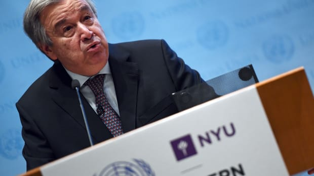United Nations Secretary-General Antonio Guterres speaks on climate action at the New York University Stern School of Business in New York on May 30th, 2017.