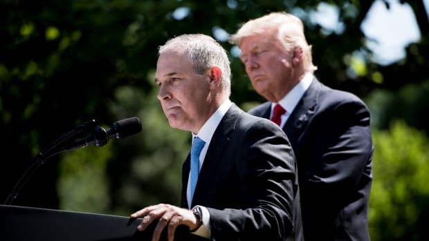 President Donald Trump and Environmental Protection Agency Administrator Scott Pruitt in the White House Rose Garden announcing the U.S. will withdraw from the Paris climate accord