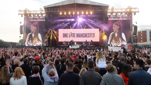 "Ariana Grande performs on June 4th, 2017, in Manchester, England, as part of the ""One Love Manchester"" concert."