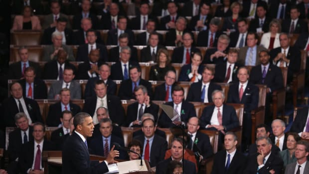 President Barack Obama delivers his State of the Union speech before a joint session of Congress at the United States Capitol on February 12th, 2013, in Washington, D.C. Facing a divided Congress, Obama concentrated his speech on new initiatives designed to stimulate the U.S. economy.