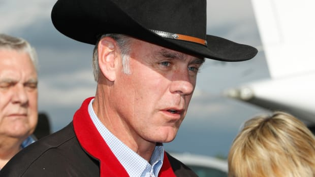 Secretary of the Interior Ryan Zinke talks to reporters before departing Kanab Airport on May 10th, 2017, in Kanab, Utah.