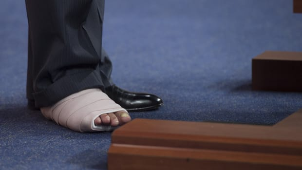 A photograph of Representative Roger Williams' (R–Texas) foot. Williams sustained an injury when he was forced to dive for cover from a gunman who opened fire on the Republican congressional baseball team in Arlington, Virginia, on June 14th, 2017.