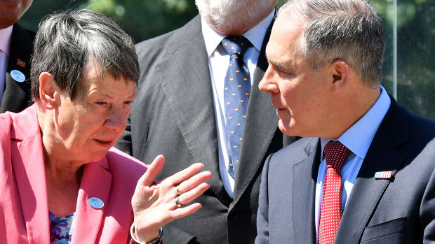 Germany's Environment Minister Barbara Hendricks and head of the Environmental Protection Agency Scott Pruitt talk during the G7 Environment summit in Italy on June 11th, 2017.