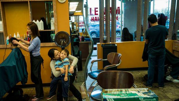Inside a Vietnamese hair salon in Houston, Texas.