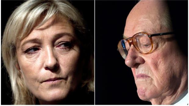 Left: Marine Le Pen. | Right: Jean-Marie Le Pen.