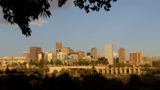 A view of the downtown city skyline on August 12th, 2008, in Denver, Colorado.