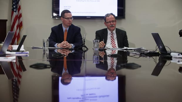 Congressional Budget Office Director Keith Hall (right) and CBO Deputy Director Mark Hadley participate in a media briefing on January 24th, 2017, in Washington, D.C.