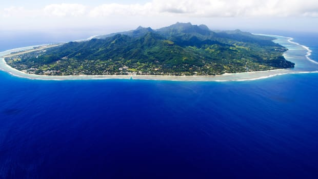 The Island of Rarotonga, the largest island in the Cook Islands, is viewed from the air on August 30th, 2012.