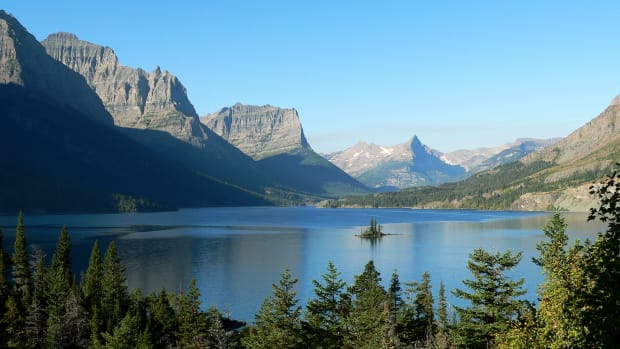 The upper end of St. Mary Lake and Wild Goose Island in Montana's Glacier National Park.
