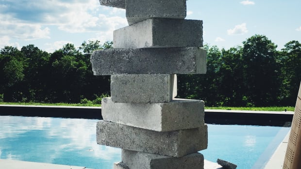 Stacked concrete blocks.