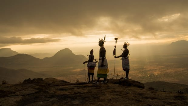 From a perch in the Matthews Range, members of the Samburu, a tribe of semi-nomadic pastoralists, look down at the Namunyak Wildlife Conservancy, which they're working to protect from elephant poachers.