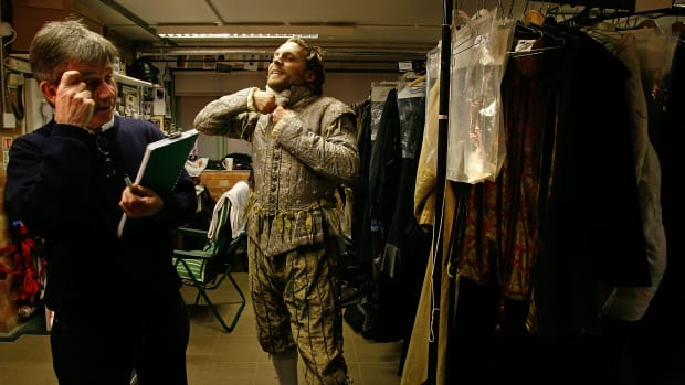 An actor prepares before a performance at the Courtyard Theatre on February 27th, 2008, in Stratford-Upon Avon, England.