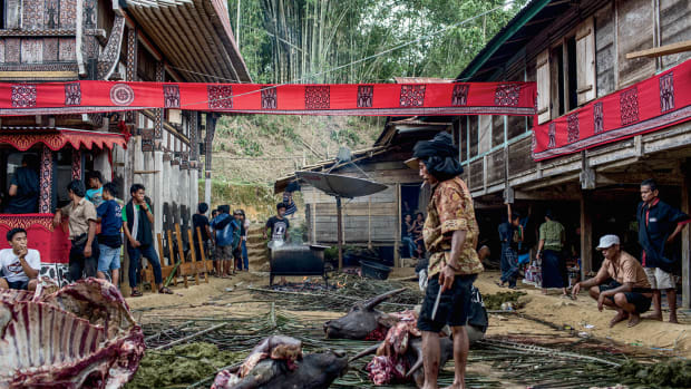 At a funeral in a remote corner of Indonesia, water buffalo are sacrificed in order to help carry the deceased to the afterlife.