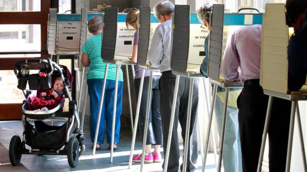 Voters in Cincinnati go to the polls for the 2016 Ohio primary.
