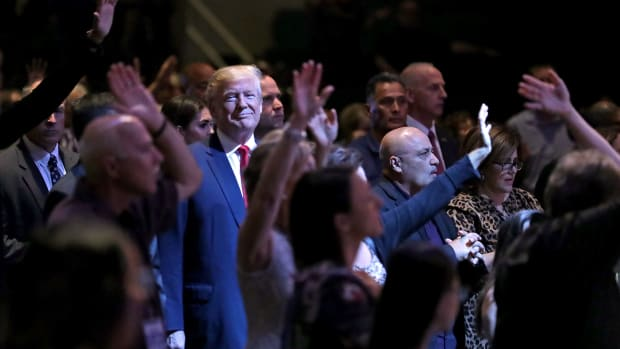 Donald Trump attends a worship service at the International Church of Las Vegas on October 30th, 2016, in Las Vegas, Nevada.
