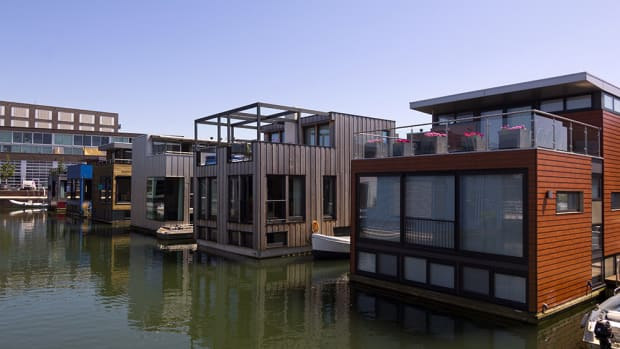 Floating homes in IJburg, Amsterdam.