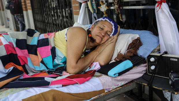 A woman celebrates the World Day of Laziness in Itagui, Colombia, on August 20th, 2017.