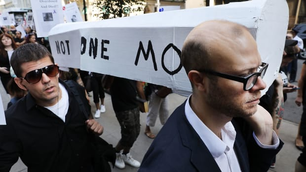 Over 100 drug reform advocates, former addicts, and family members who have lost loved ones to drugs participate in a New Orleans-style funeral march to demand action on Overdose Awareness Day on August 31st, 2017, in New York City. Thousands of Americans have died from overdoses as an opioid epidemic sweeps across the nation. The New York march, which included the Demolition Brass Band and demanded the immediate expansion of existing community overdose prevention services, concluded at the city morgue.
