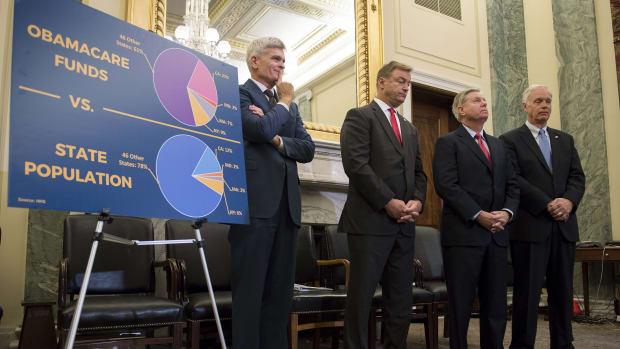 From left: Senators Bill Cassidy, Dean Heller, Lindsey Graham, and Ron Johnson announce their ACA repeal legislation on September 13th, 2017.