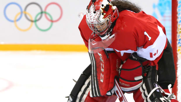 Shannon Szabados looks on prior to the Women's Ice Hockey Preliminary Round Group A game during the 2014 Winter Olympics in Sochi, Russia.
