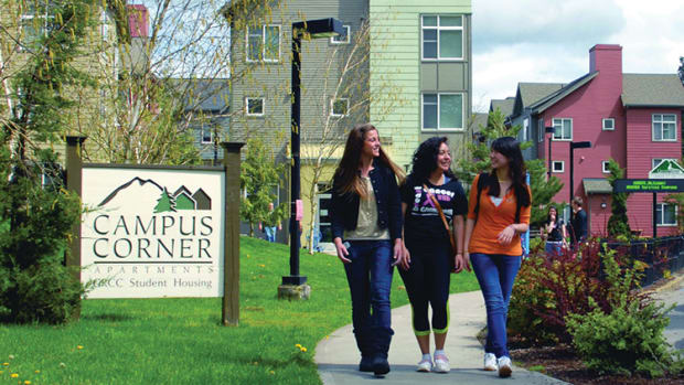 Students walk on campus at Green River College in Auburn, Washington.