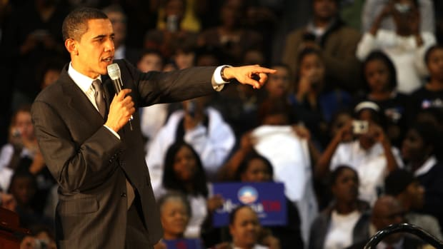 Then-Senator Barack Obama addresses an audience in Jersey City, New Jersey, on January 9th, 2008.