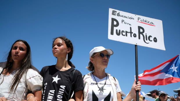 Teachers participate in a one-day strike against the government's privatization drive in public education, in San Juan, Puerto Rico, on March 19th, 2018.