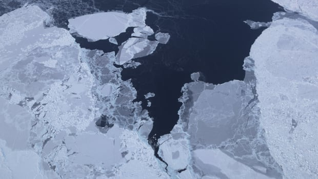Sea ice is seen from NASA's Operation IceBridge research aircraft on March 30th, 2017, above Greenland.