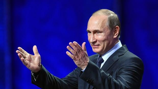 Vladimir Putin speaks on July 25th, 2015, in Saint Petersburg, Russia.