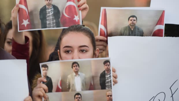 Students of Mehmet Akif College hold pictures of their Turkish teachers as they demonstrate against their arrest in Pristina on March 29th, 2018. In an operation carried out between Turkey's National Intelligence Organization and Kosovo's spy services, six high-ranking members of U.S.-based Muslim cleric Fethullah Gulen's movement were brought back home on a private plane, Anadolu news agency reported, citing security sources.