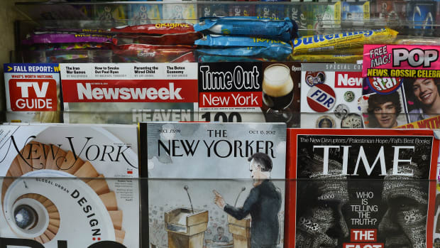 The New Yorker displayed in an Upper East Side newsstand in New York on October 9th, 2012.