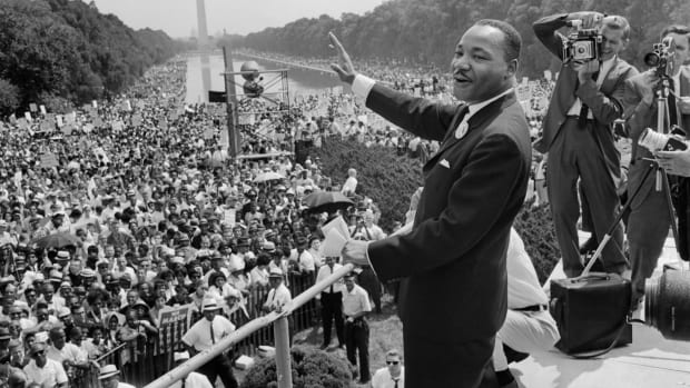The civil rights leader Martin Luther King Jr. waves to supporters on August 28th, 1963, on the Mall in Washington, D.C.